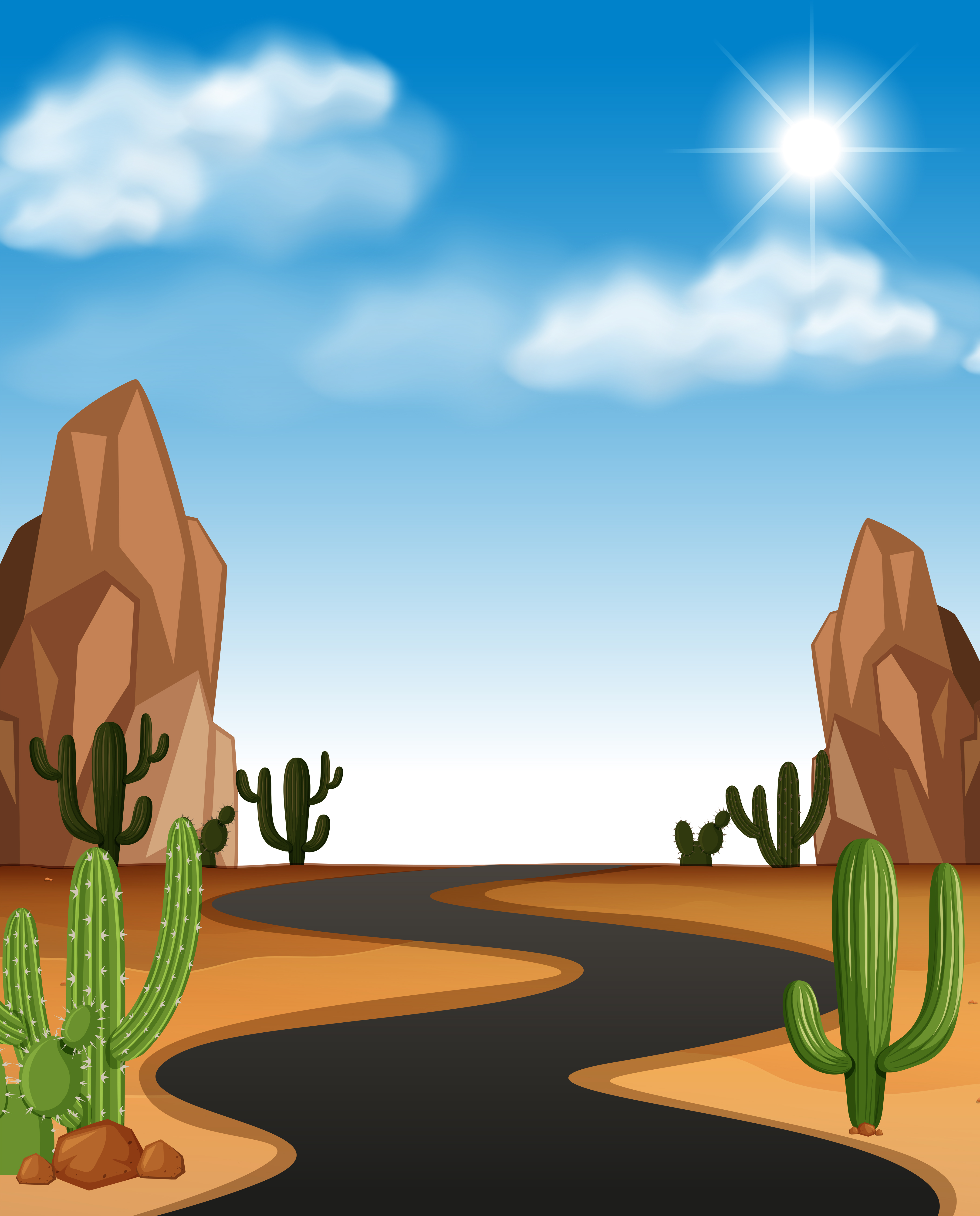 Desert Scene With Road And Cactus Download Free Vectors