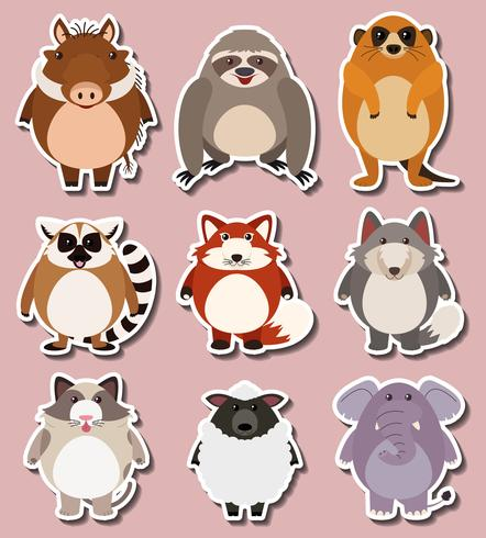 Sticker design for wild animals - Download Free Vector Art, Stock