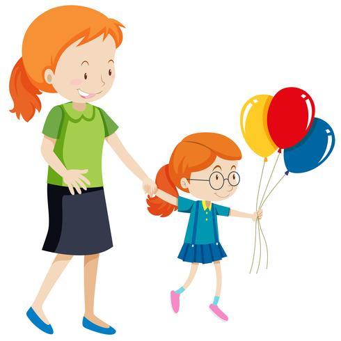 Moeder en dochter houden ballonnen