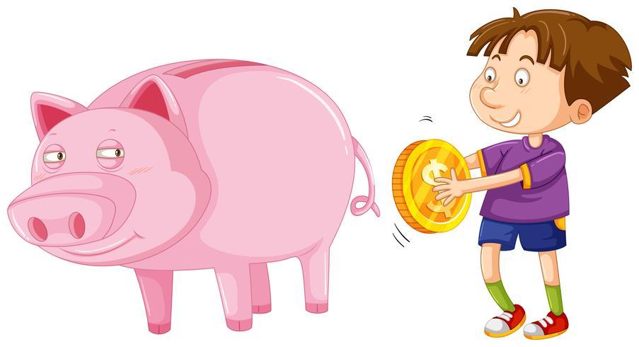 Menino, com, moeda dourada, e, grande, piggybank