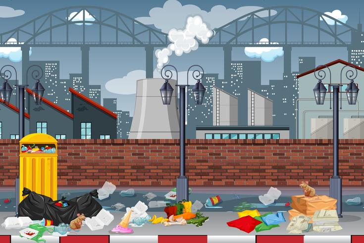 Pollution in factory town vector