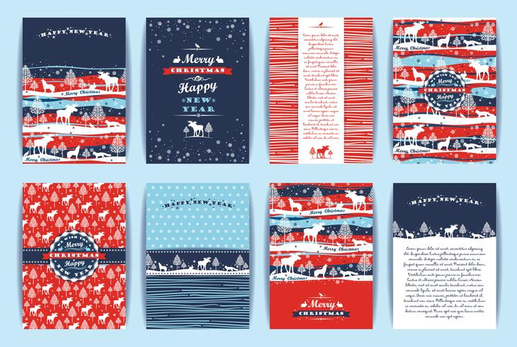 Christmas and New Year Set. Vector Design Templates.
