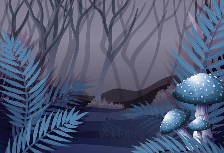 Escena del bosque por la noche vector