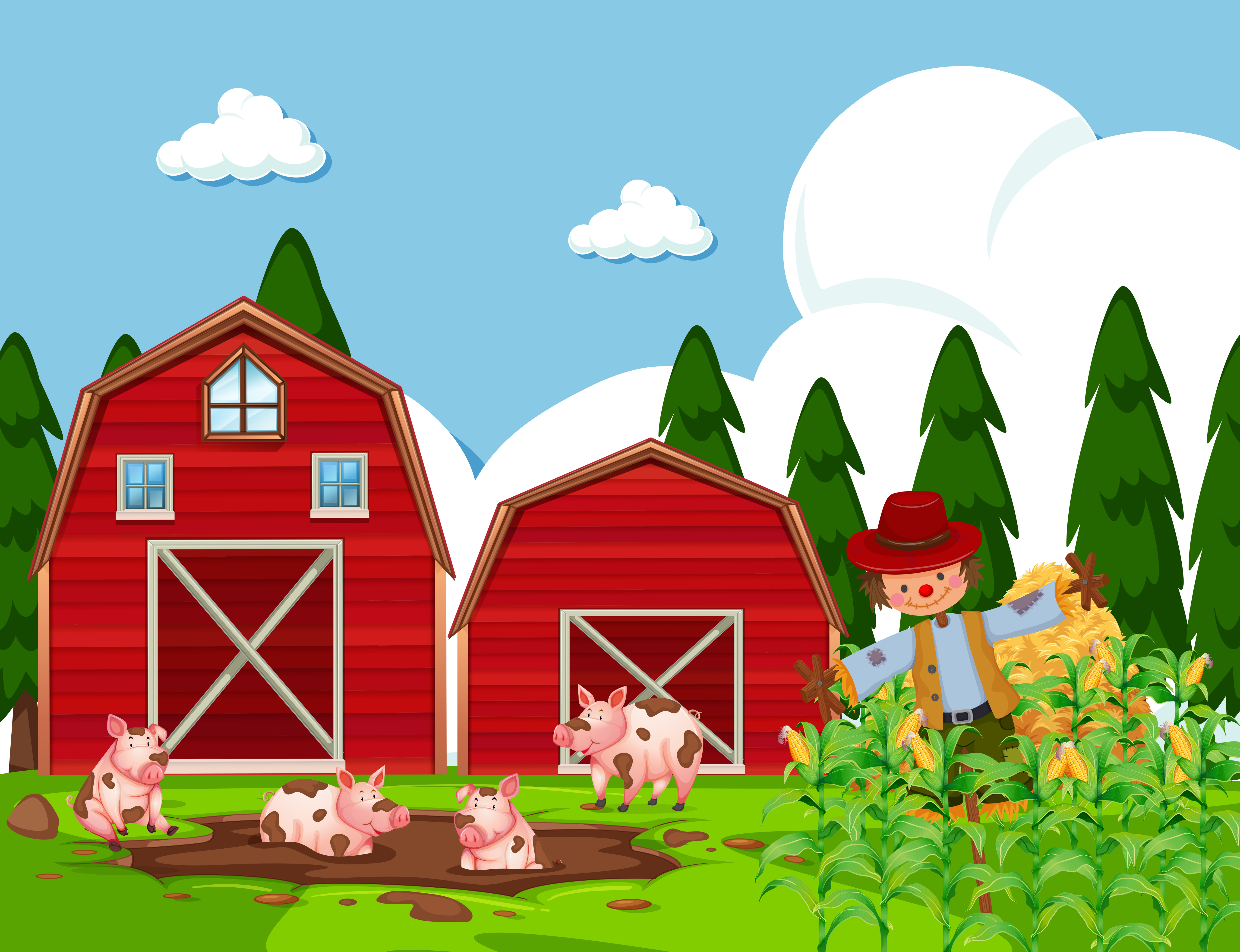 Farm scene with pigs in mud - Download Free Vectors ...
