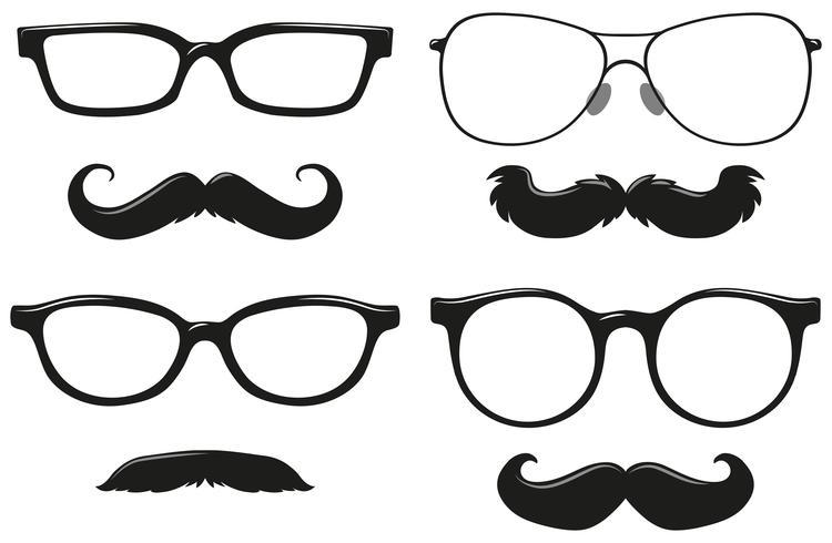 Olika mönster av mustasch och glasögon