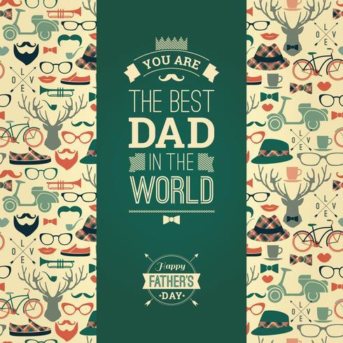Cartão Feliz Do Dia De Pai No Estilo Retro.