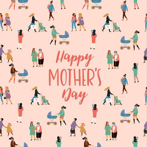 Feliz día de la madre. Ilustración vectorial con mujeres y niños.