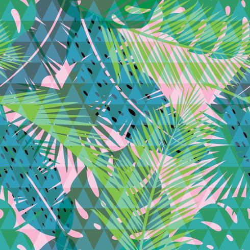 Estampado tropical de verano con palma. Patrón sin costuras
