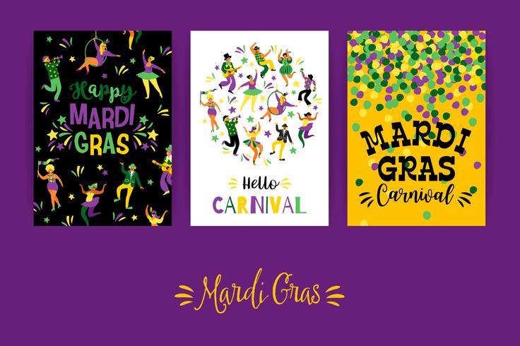 Mardi Gras. Vektor mallar för karneval koncept och andra användare
