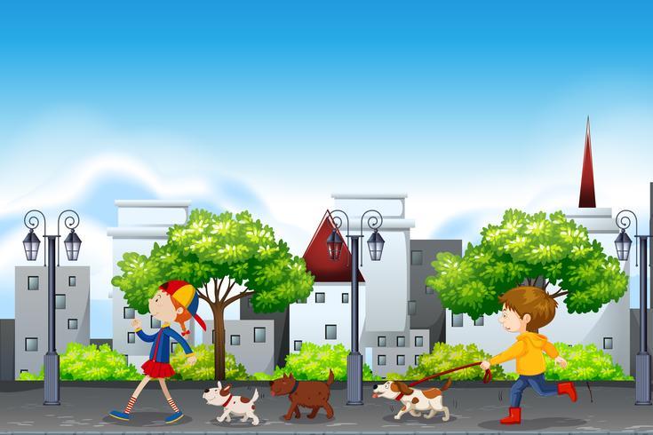 Cena urbana de pessoas e cães