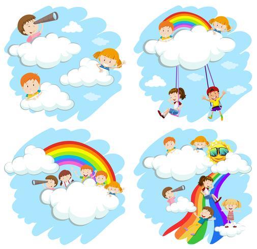 Feliz, crianças, macio, nuvens, arco íris
