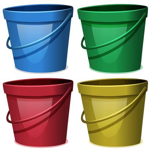 Quatro baldes de água em quatro cores
