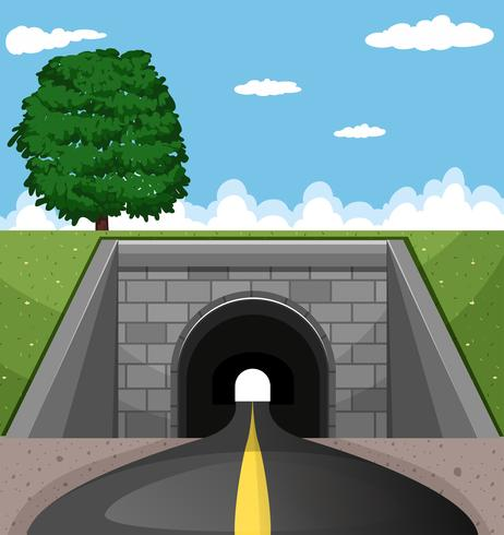 Road going through the tunnel vector