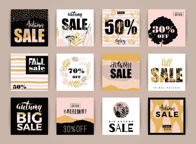 Conjunto de artísticos criativos cartões de venda de outono.