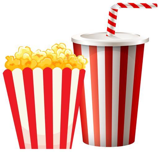 Popcorn in scatola e tazza di bevanda