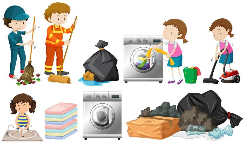Um conjunto de pessoas de limpeza