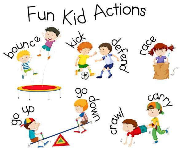 Diversão garoto ações playground ilustração