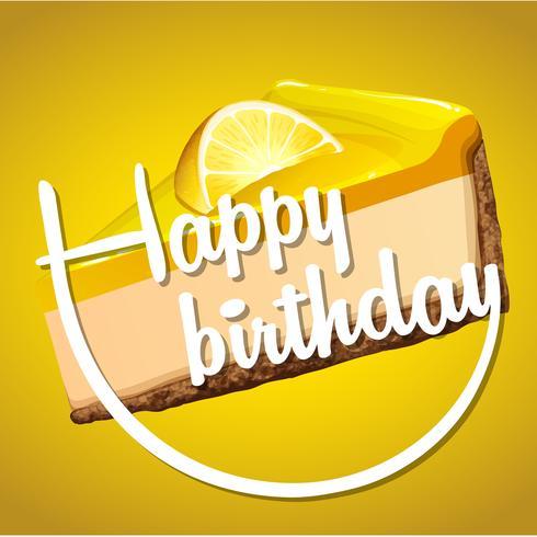 Modelo de cartão de feliz aniversário com cheesecake de limão