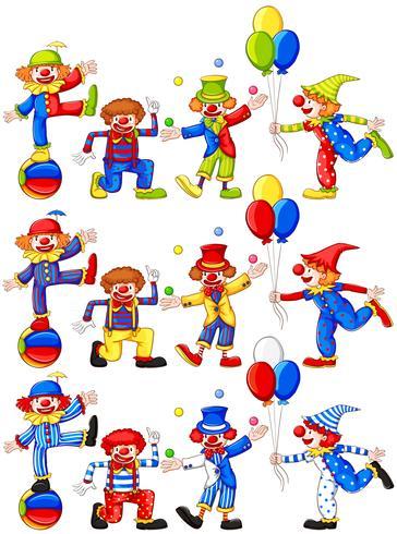 Clown faisant différentes actions