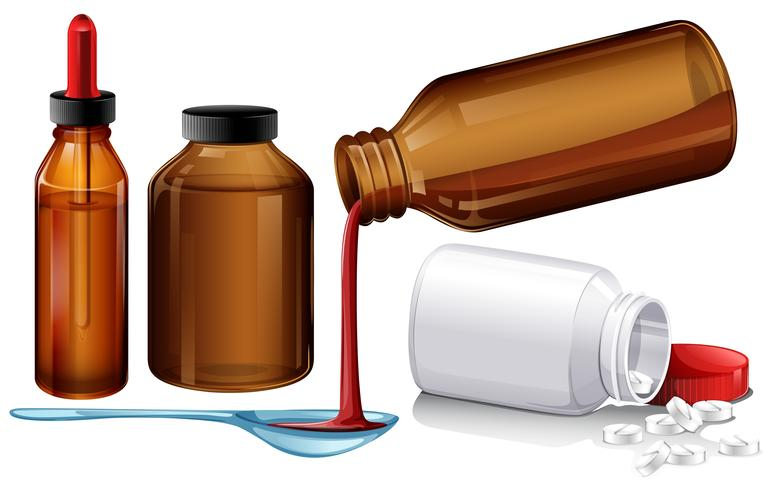Liquid medicine and tablets vector