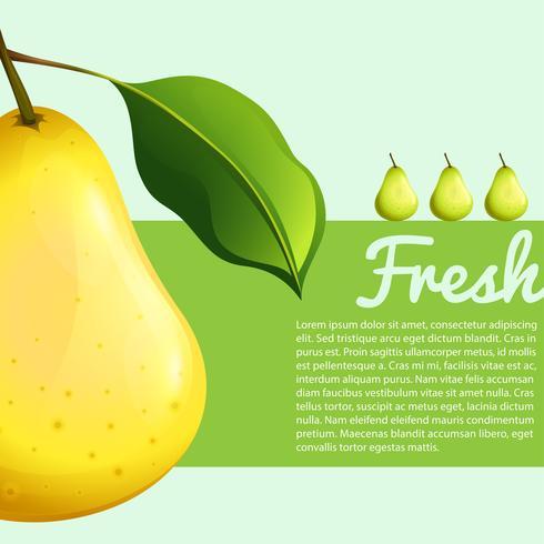 Diseño de cartel con pera fresca.