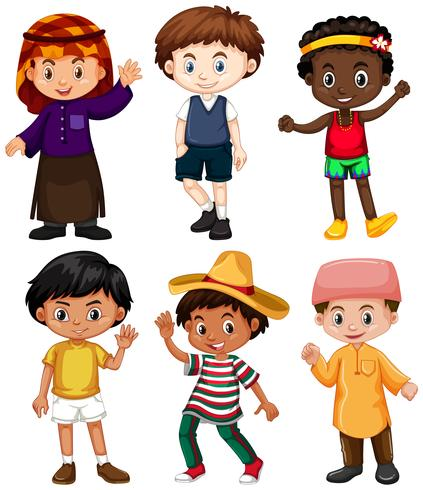 Seis meninos de diferentes países