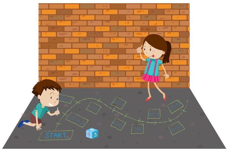 Crianças que jogam o jogo da matemática