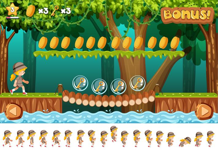 Safari girl game design concept - Download Free Vector Art, Stock Graphics & Images