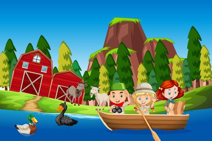 Crianças, em, um, bote, cultive cena