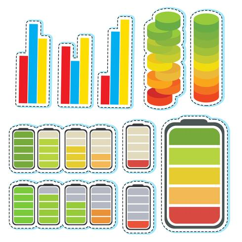 Sticker set with different levels of bars