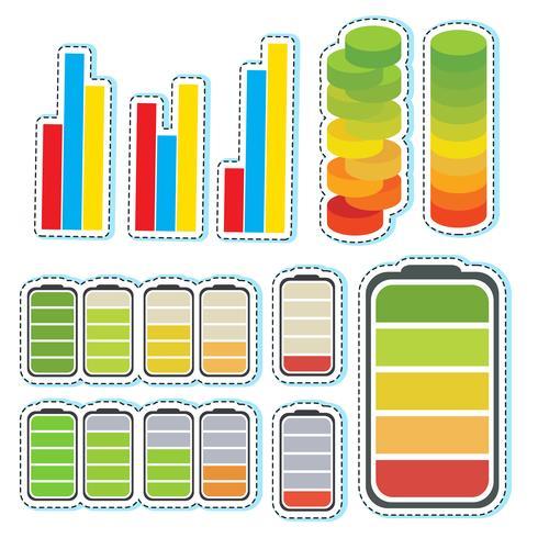 Adesivo definido com diferentes níveis de barras
