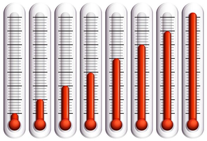 Conjunto de termómetros en blanco