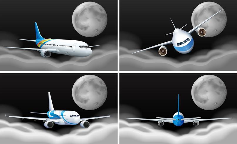 Quattro scene di cielo con volare in aereo