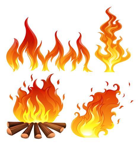 Set di fiamme vettore