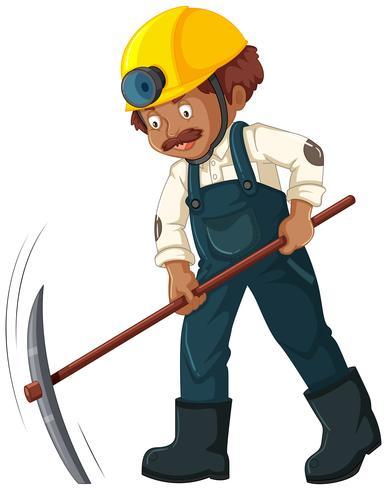 Un lavoratore minerario su sfondo bianco