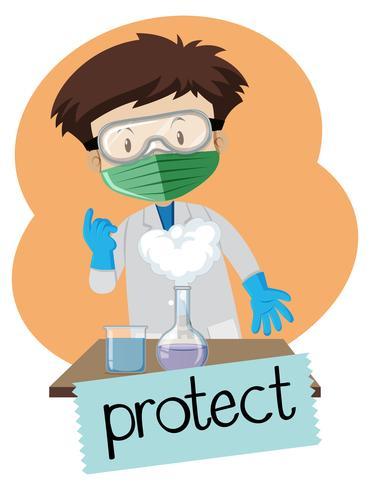 Wordcard für schützen Sie sich mit tragenden Schutzartikeln des Jungen im Labor