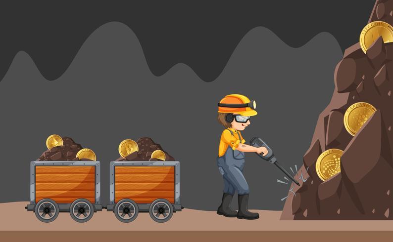 Un trabajador de la mina en el fondo blanco