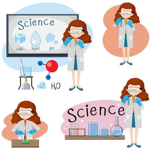 Set of various girl science