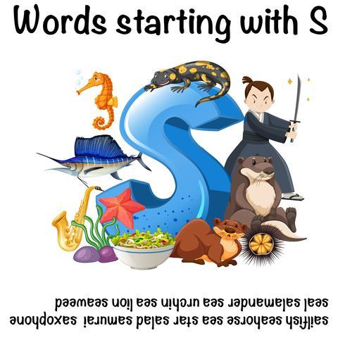 Cartel en inglés para las palabras que comienzan con s