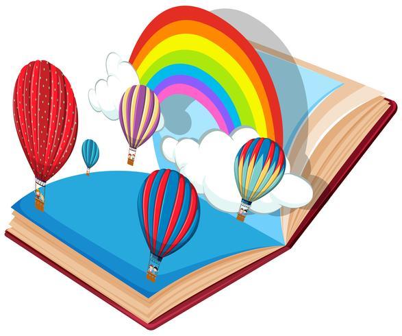 Open boek luchtballon thema