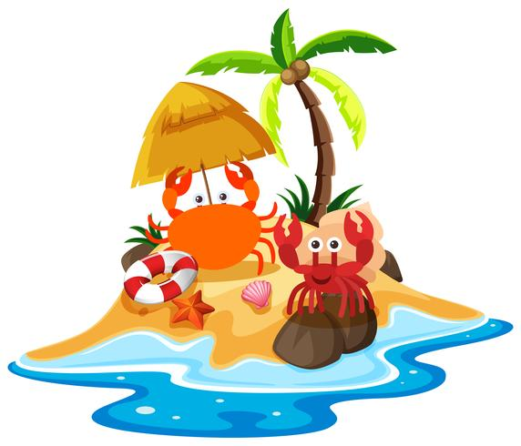 Ocean scene with crabs on the beach - Download Free ...