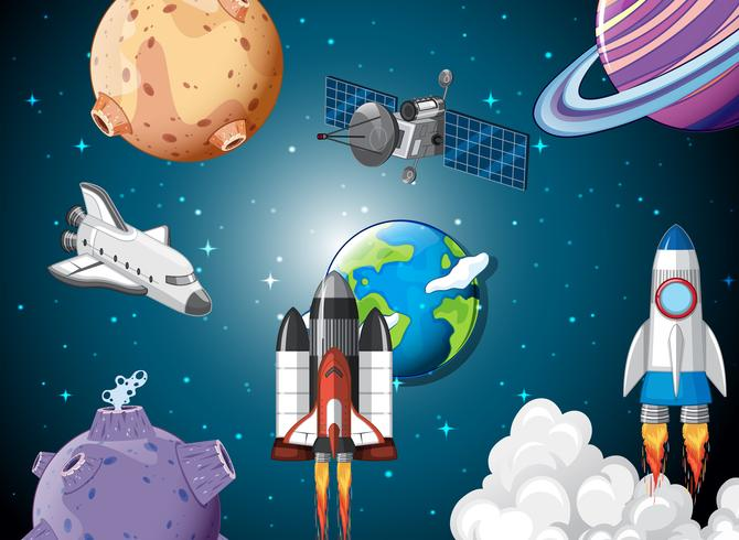 Scène van raketschepen in de ruimte