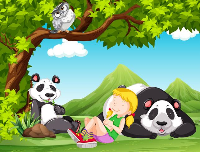 young girl with pandas