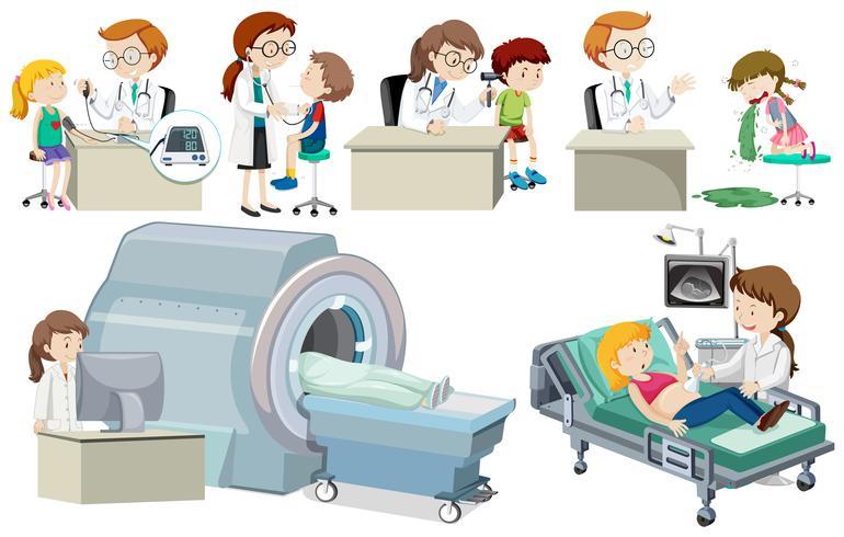 Um conjunto de médico e paciente vetor