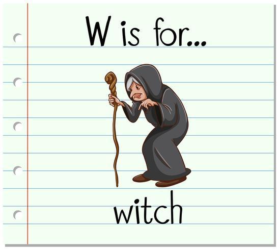 La letra W de la Flashcard es para bruja.