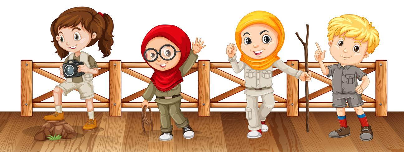 Four kids in safari outfit on the bridge - Download Free Vector Art, Stock Graphics & Images