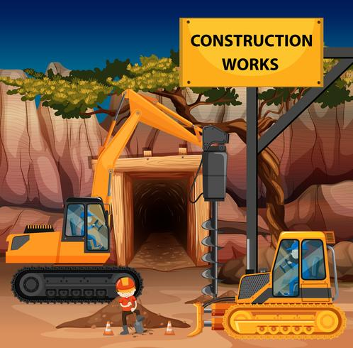 Scena di lavori di costruzione con perforatrice e bulldozer