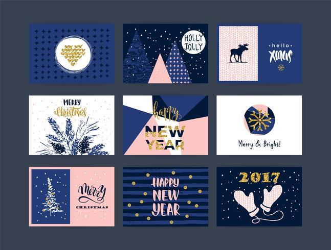 Conjunto de artístico creativo feliz navidad y año nuevo.
