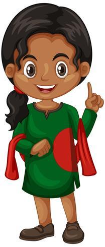 Bangladesch-Mädchen im grünen Kostüm