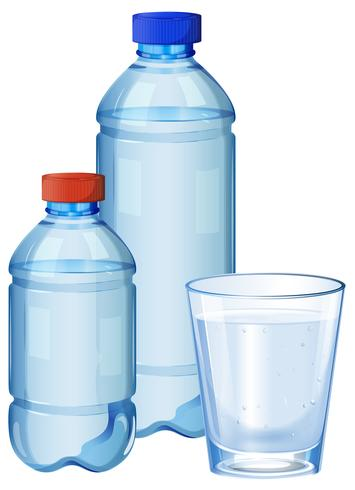 Water bottles and glass with drinking water